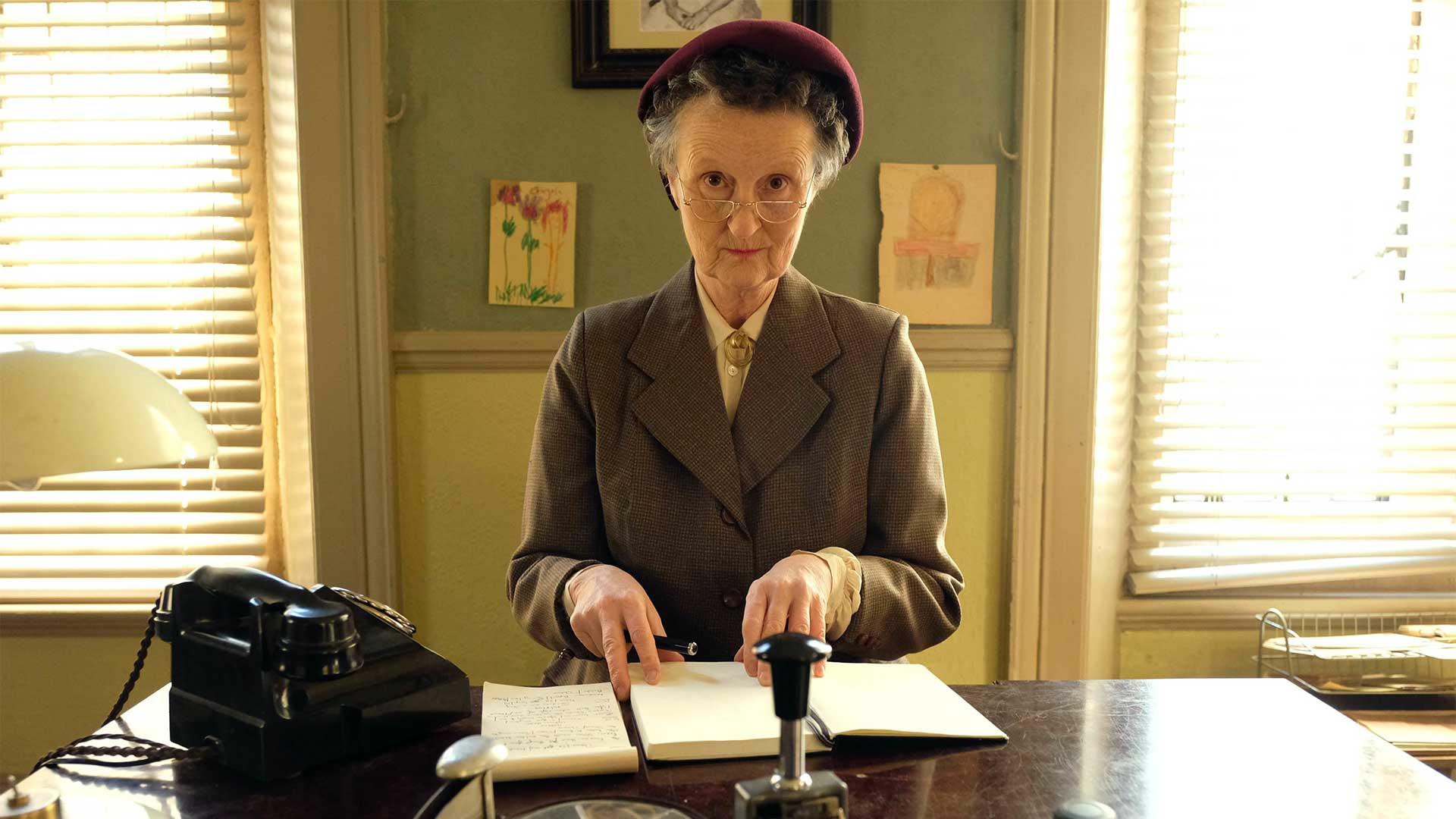 Georgie Glen plays Miss Higgins