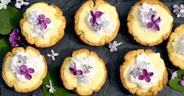 Lilac Coconut Cream Tarts