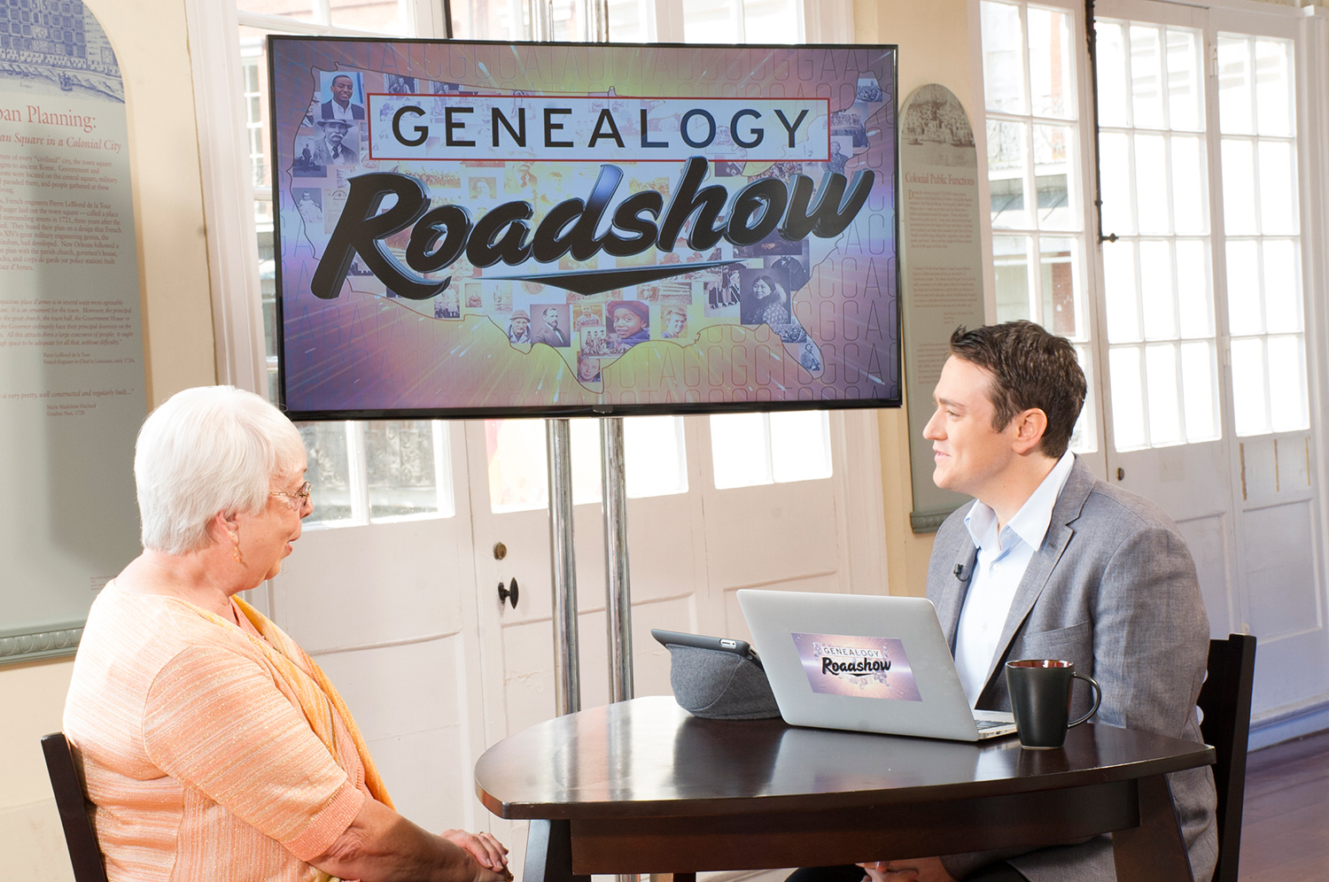 A scene from Genealogy Roadshow with Joshua Taylor.