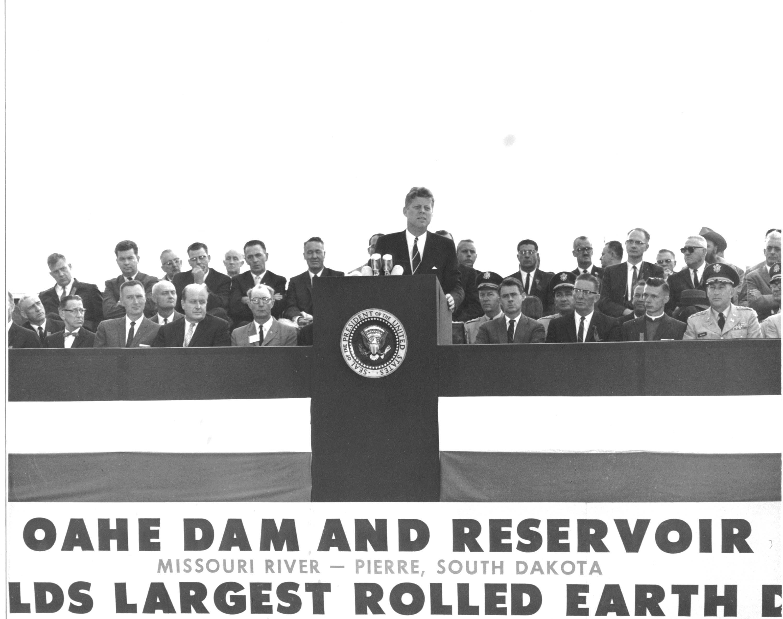 John F. Kennedy speaking at Oahe Dam image