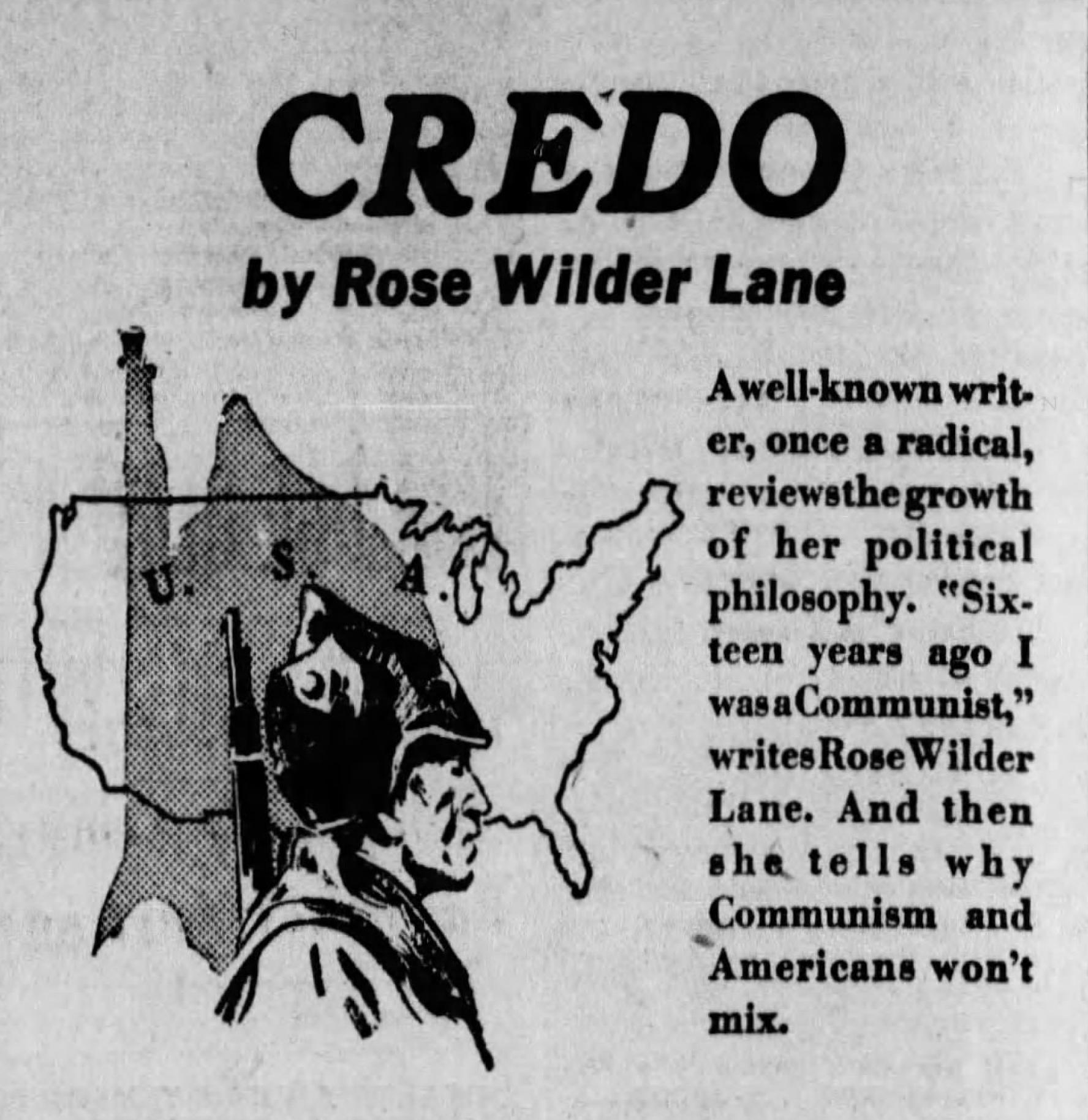 "A newspaper ad for RWL's libertarian polemic, ""Credo."""
