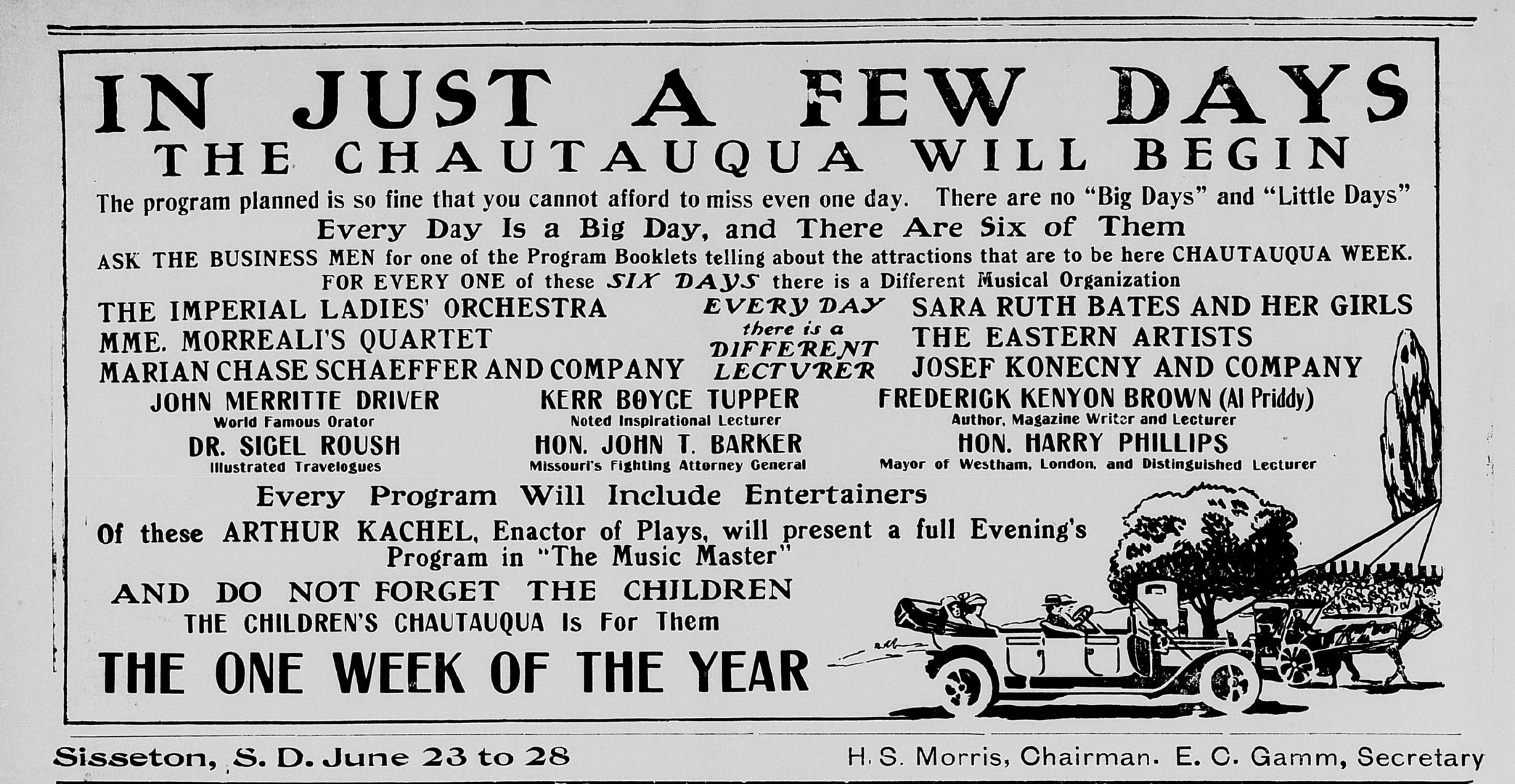 An advertisement for a Sisseton Chautauqua in the June 19, 1914 issue of the Sisseton Weekly Standard.