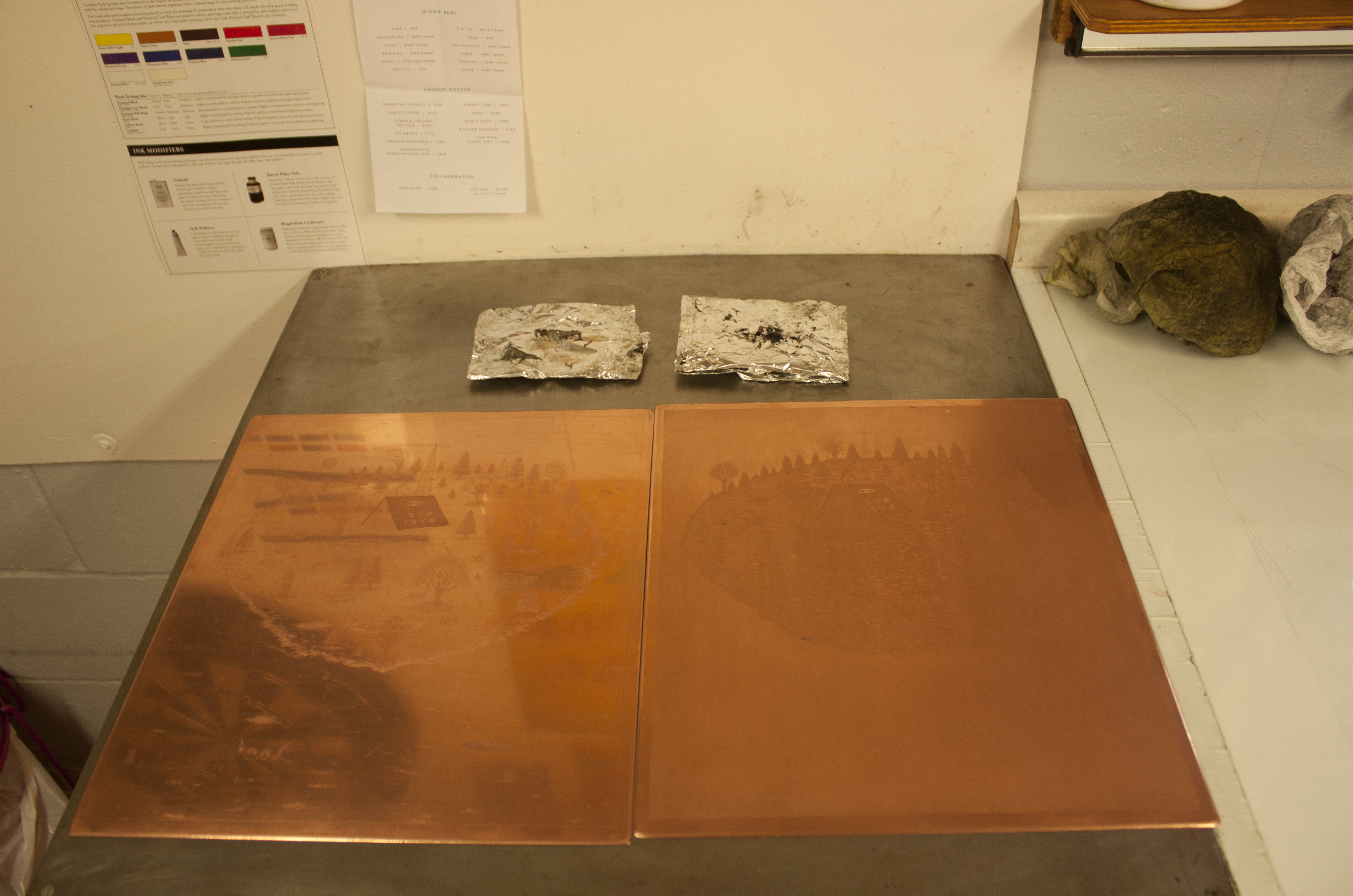 Copper plates used for printing.
