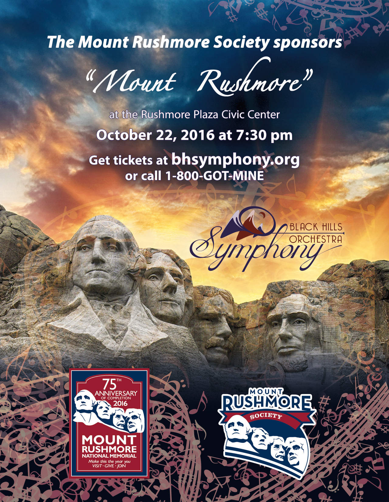 Flyer for Mount Rushmore 75th Anniversary Symphonic Celebration