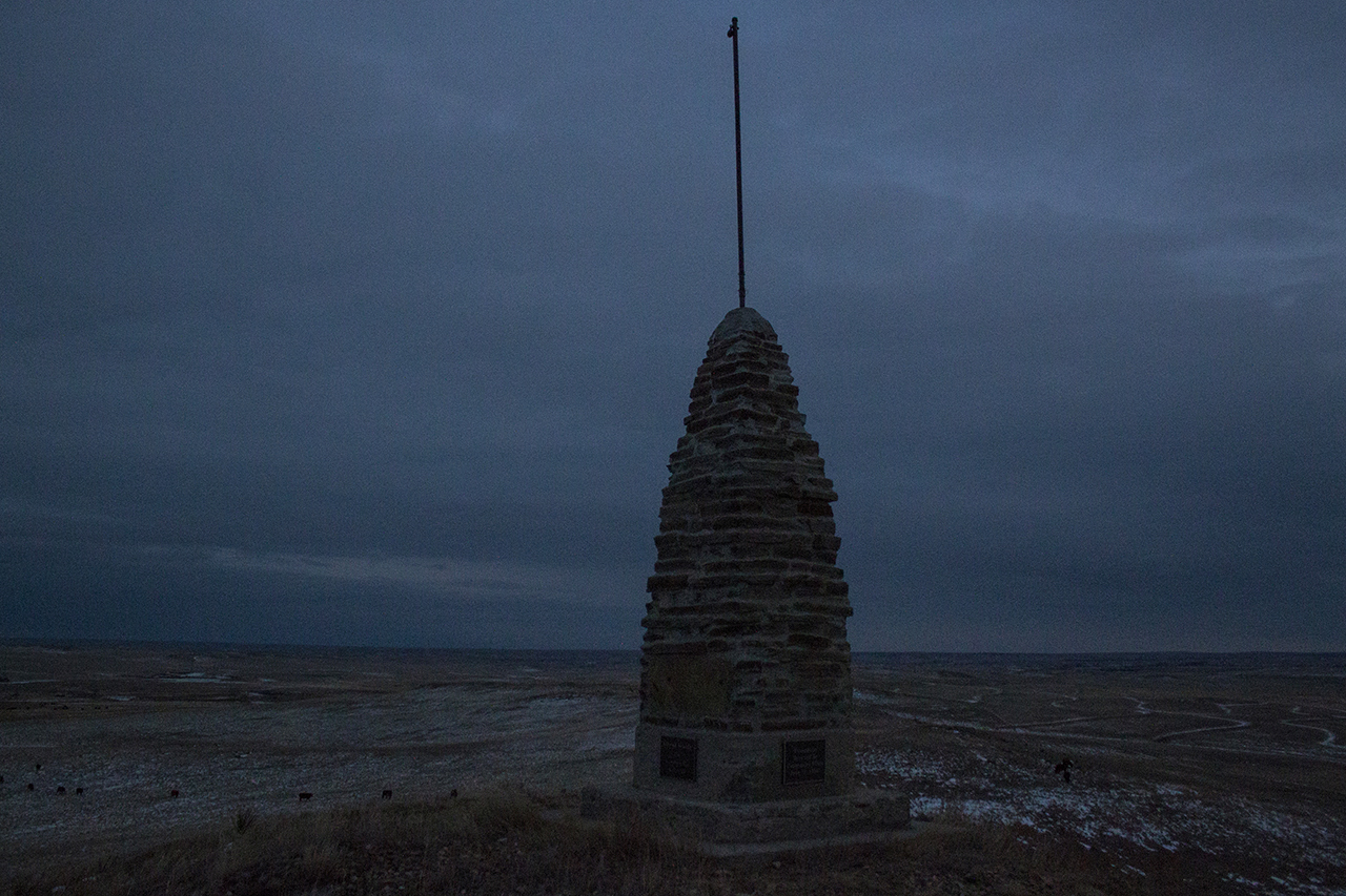 The Silent Guide monument on Stoneman Hill, about eight miles west of Philip.
