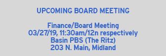 Upcoming Basin PBS Board Meeting 3/27