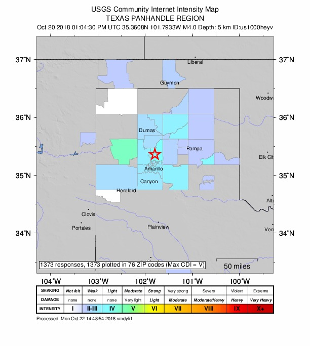 Intensity map for Oct. 20, 2018, Texas Panhandle earthquake