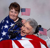 Diana and Kathy participate in the democratic process by visiting their congressional representatives and helping to influence laws that support people with disabilities.