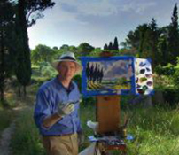 David Dunlop travels to the South of France to paint a vista of cypress trees just as Vincent Van Gogh did here