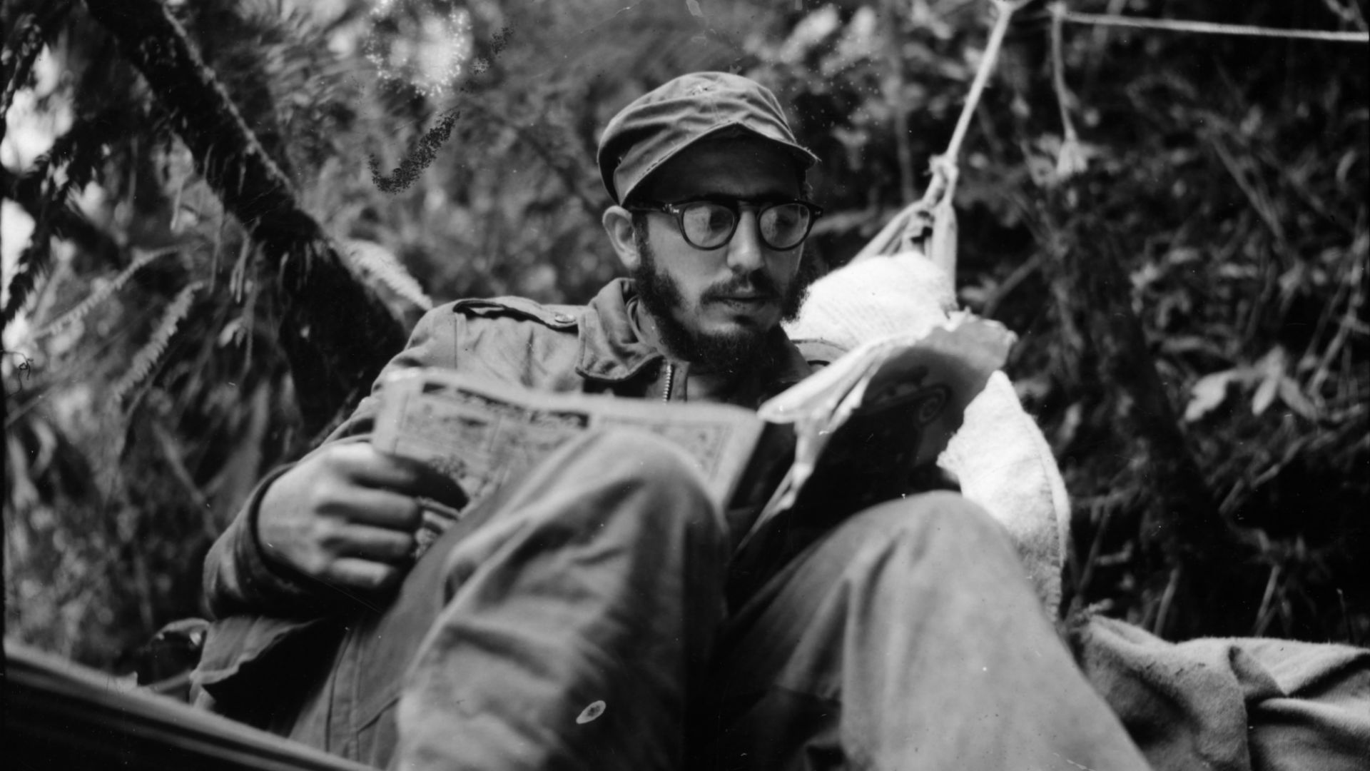 Fidel Castro at an outpost in the Sierra Maestra. Castro commanded his forces in this region from December 1956 to November 1958.