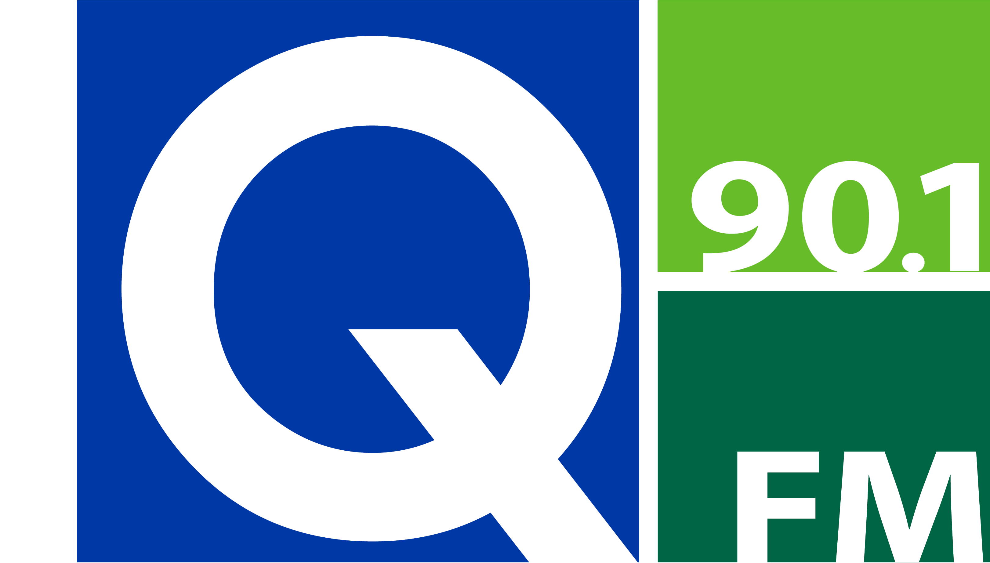 Q-90.1 FM Logo with Delta College Name in White