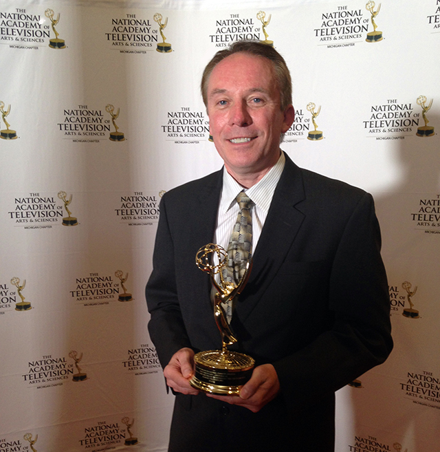 'Vietnam Voices' producer/director Bob Przybylski with his Emmy award.