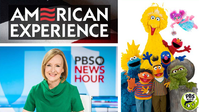 A collage of images including the American Experience logo, Judy Woodruff on the set of PBS NewsHour, and Sesame Street characters Big Bird, Abby Cadabby, Elmo, Grover, Cookie Monster, Bert and Ernie, and Oscar the Grouch.