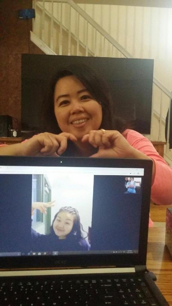 Keinada Andereas in a video call with her mother Evyna Halim