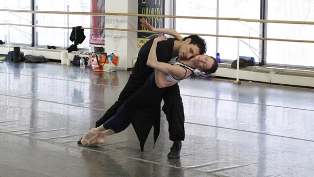 Colorado Ballet dancers Maria Mosina and Dominico Luciano rehearse 'The Last Beat.'