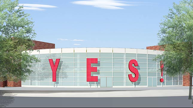 "R&R studios' artist rendering of its public art piece ""YES!"" The project was scrapped by the city after intense public criticism."