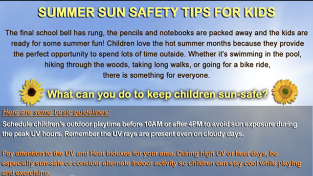 Summer Sun Safety Tips for Kids