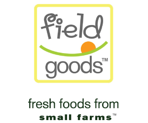 Field Goods Logo, gray type with a green horizon and yellow box around it