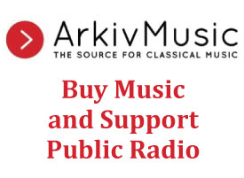 "Arkiv Music Advertisement - Arkiv Music logo with ""buy music and support public radio"" in red below it on a white background"