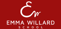 The Emma Willard School logo in white script and print text on a red background.