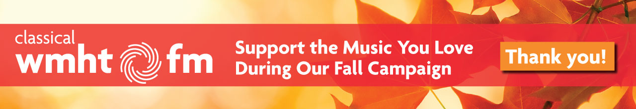 The Classical WMHT FM Fall Pledge Campaign banner features orange and red fall leaves overlayed on a warm yellow and orange autumn background.