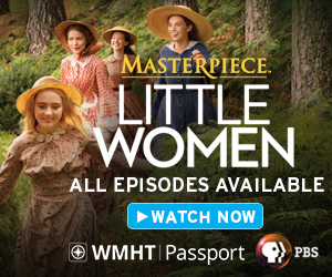 An ad for Little Women on Masterpiece featuring the March sisters running through the woods in hats and dresses.