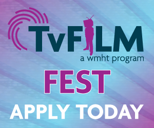 An ad for TvFILM Fest featuring the dark green and purple TvFILM logo on a background of purple and blue gradients and diagonal stripes.