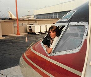 Lynn in the cockpit.