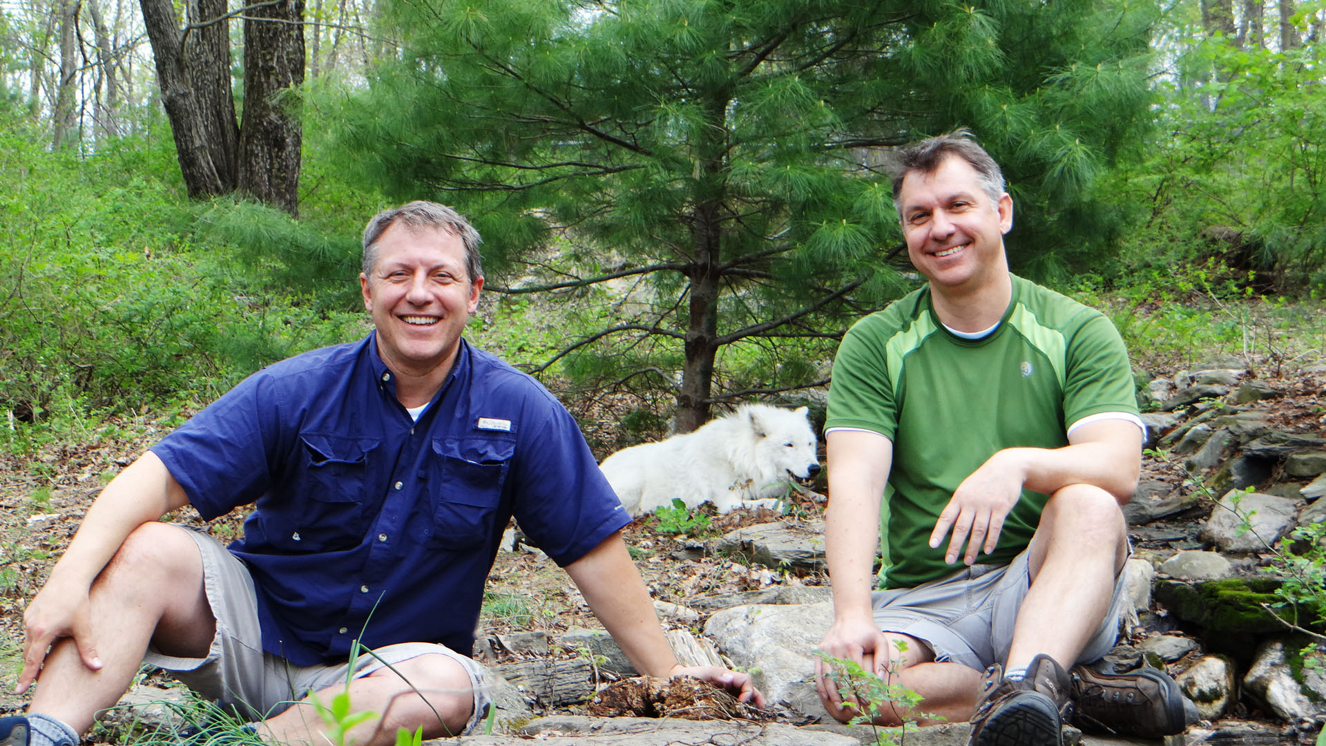 Chris and Martin Kratt with Arctic Wolf.