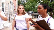Robbyn Lewis, Patterson Park Energy Captain, canvasses for the Baltimore Neighborhood Energy Challenge.