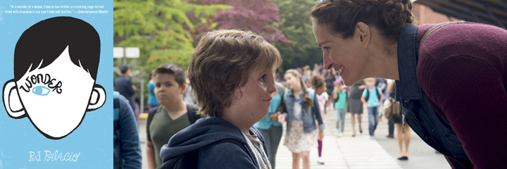 "Wonder - RJ Palacio with a screenshot from the movie, ""Wonder"" with Julia Roberts"