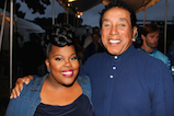 Amber Riley and Smokey Robinson pose for a photo backstage during <em>A Capitol Fourth</em> concert at the U.S. Capitol, West Lawn, on July 4, 2016 in Washington, DC.