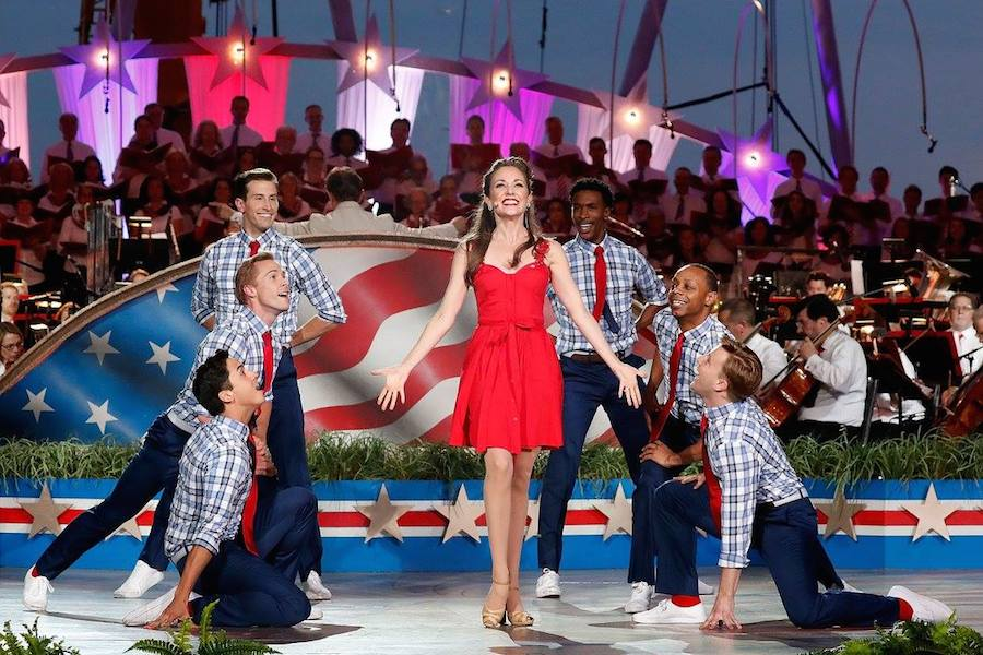 Broadway star and two-time Tony Award nominee Laura Osnes and dancers perform at <em>A Capitol Fourth</em> at U.S. Capitol, West Lawn on July 4, 2017 in Washington, DC. (Photo by Paul Morigi/Getty Images for Capital Concerts)
