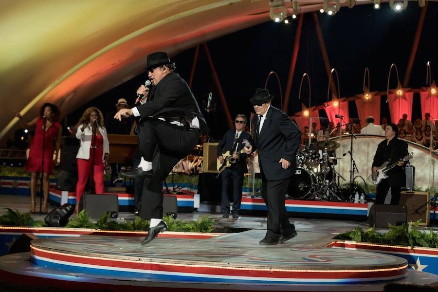 Jim Belushi (L) and Dan Akroyd (R) of The Blues Brothers perform at <em>A Capitol Fourth</em> at U.S. Capitol, West Lawn on July 4, 2017 in Washington, DC.