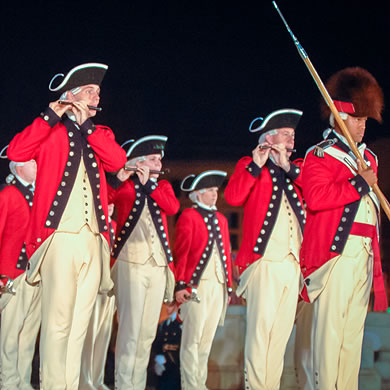 Fife players dressed in 18th Century uniforms