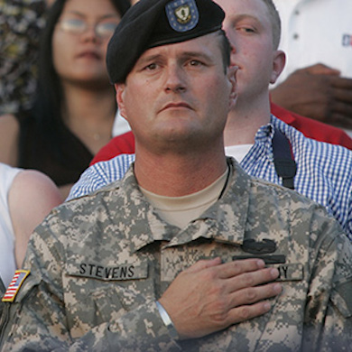 Serviceman with hand over heart
