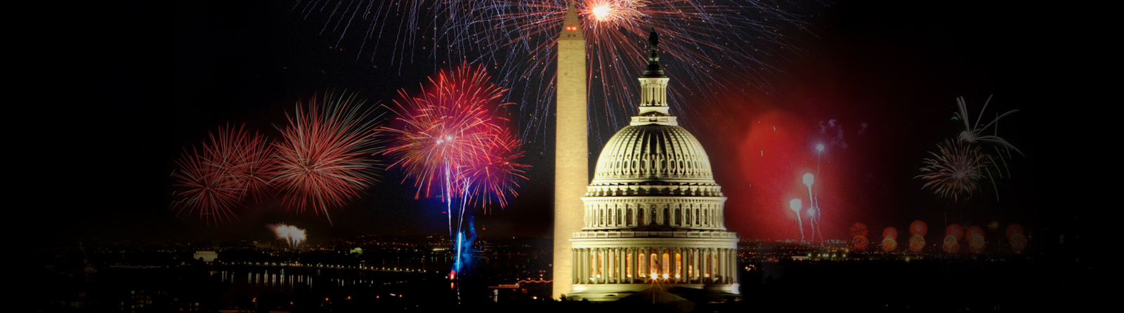 Fireworks over the Capitol building, Washington, D.C.