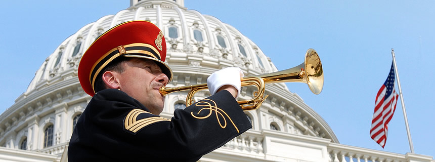 Bugler in front of US Capitol building