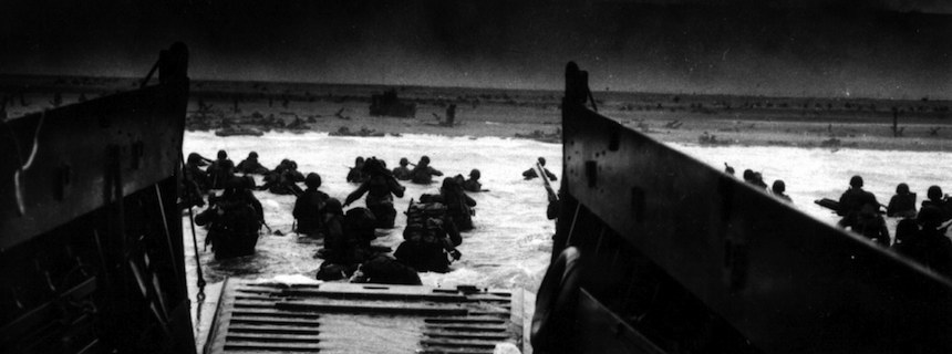 Allied forces land on the beaches of France on D-Day