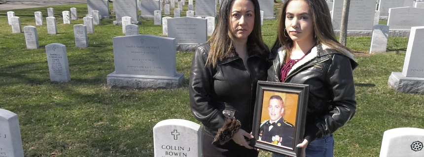 Ursula Palmer and Gabriella Bowen at the grave of SFC Collin Bowen.