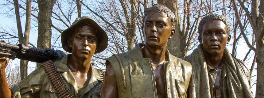 The Three Soldiers Statue at the Vietnam Veterans Memorial in Washington, DC.