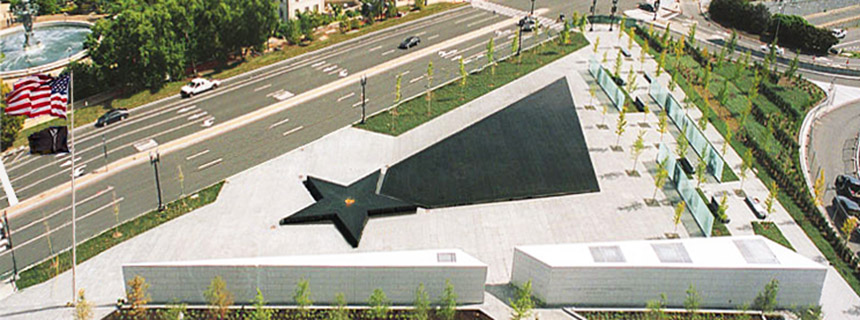 An aerial view of the American Veterans Disabled for Life Memorial