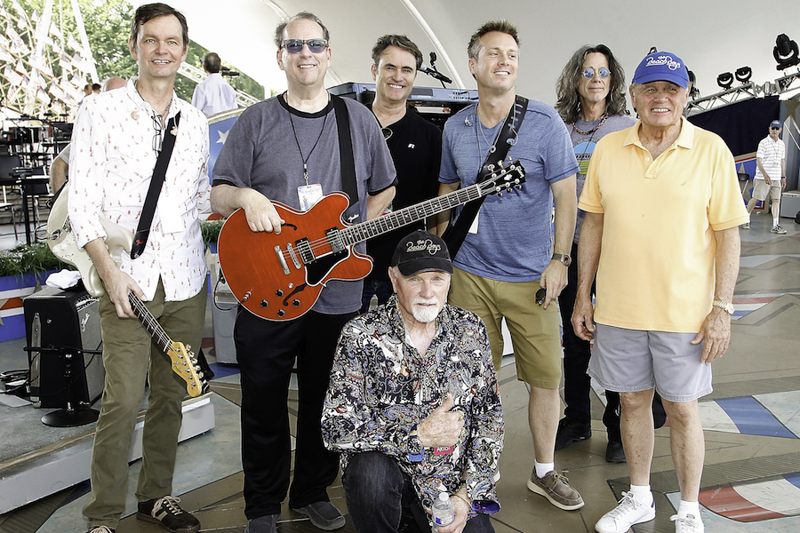 The Beach Boys take a moment away from rehearsing to snap a photo onstage at the 2016 <em>National Memorial Day Concert</em>.
