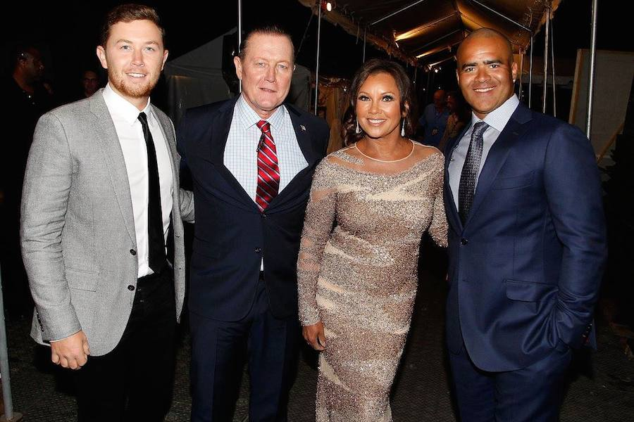 Scotty McCreery, Robert Patrick, Vanessa Williams and Christopher Jackson backstage at PBS' 2017 <em>National Memorial Day Concert</em> - Rehearsals at U.S. Capitol, West Lawn on May 27, 2017 in Washington, DC. (Photo by Paul Morigi/Getty Images for Capital Concerts)