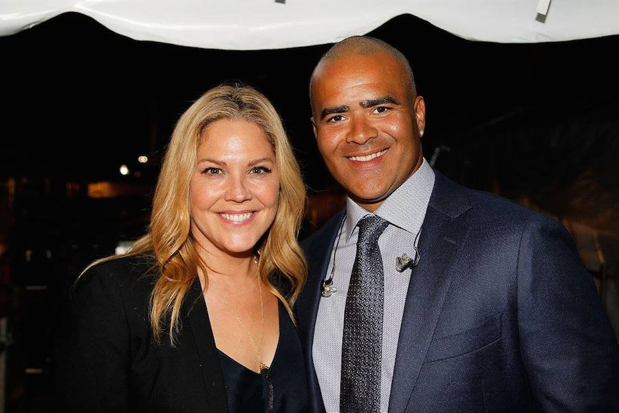 "Actress Mary McCormack and Christopher Jackson, star of Broadway's ""Hamilton"" and CBS' ""Bull"" backstage at PBS' 2017 <em>National Memorial Day Concert</em> - Rehearsals at U.S. Capitol, West Lawn on May 27, 2017 in Washington, DC. (Photo by Paul Morigi/Getty Images for Capital Concerts)"