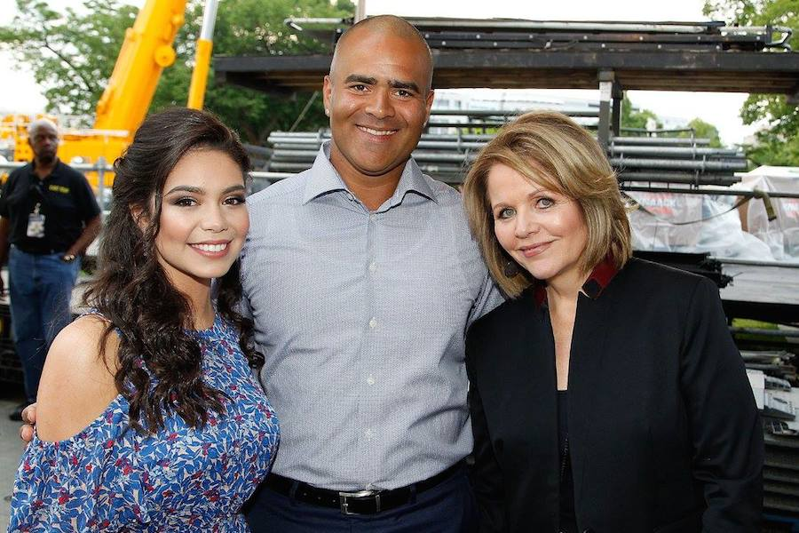 "Auli'i Cravalho of the hit Disney film ""Moana""; Christopher Jackson, star of Broadway's ""Hamilton"" and CBS' ""Bull""; and Grammy Award-winning classical music artist Rene Fleming backstage at PBS' 2017 <em>National Memorial Day Concert</em> - Rehearsals at U.S. Capitol, West Lawn on May 27, 2017 in Washington, DC. (Photo by Paul Morigi/Getty Images for Capital Concerts)"