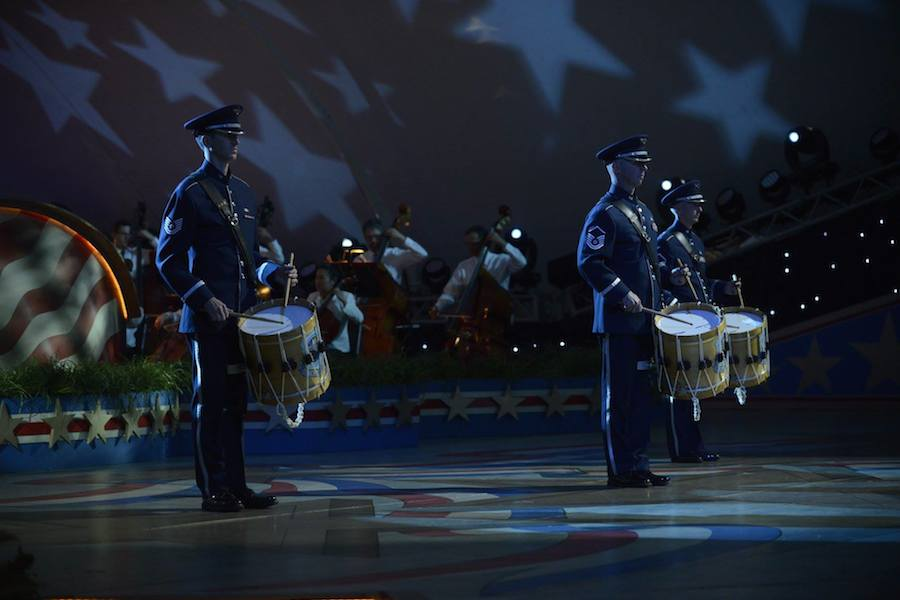 "Air Force Drummers and the National Symphony Orchestra perform ""Commemoration"" by RObert Wendel at PBS' 2017 <em>National Memorial Day Concert</em> at U.S. Capitol, West Lawn on May 28, 2017 in Washington, DC."