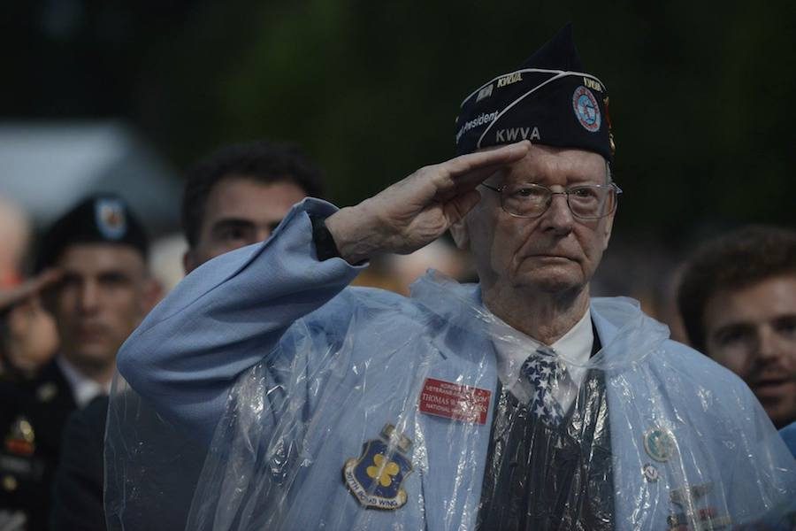 Korean War veteran salutes at PBS' 2017 <em>National Memorial Day Concert</em> at U.S. Capitol, West Lawn on May 28, 2017 in Washington, DC.