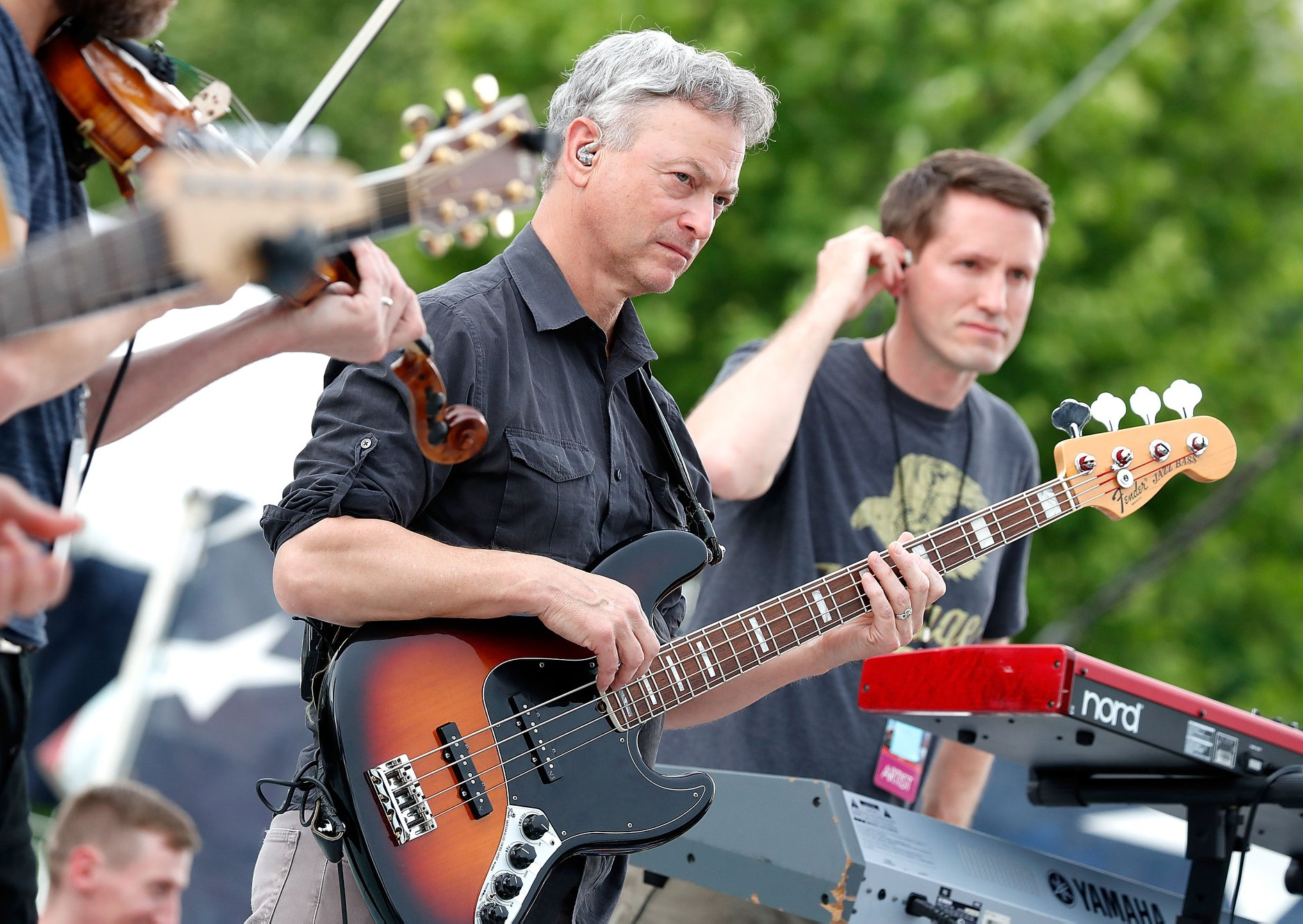 Actor and co-host Gary Sinise rehearsing with the Lt. Dan Band for the 2018 <em>National Memorial Day Concert</em>.