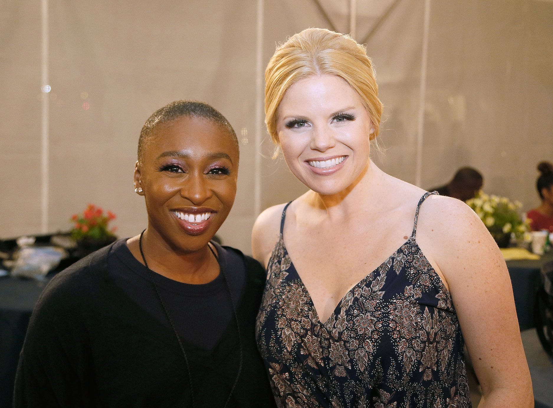 Singers Cynthia Erivo and Megan Hilty backstage rehearsing for the 2018 <em>National Memorial Day Concert</em>.